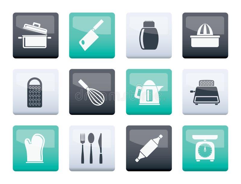 Εικονίδια εργαλείων κουζινών και οικογένειας πέρα από το υπόβαθρο χρώματος ελεύθερη απεικόνιση δικαιώματος