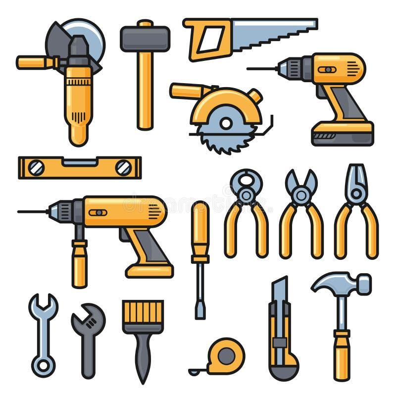 Εικονίδια εργαλείων κτηρίου και επισκευής, εξάρτηση εργαλείων οικοδόμησης - τρυπάνι, σφυρί, κατσαβίδι, πριόνι, αρχείο, putty μαχα ελεύθερη απεικόνιση δικαιώματος
