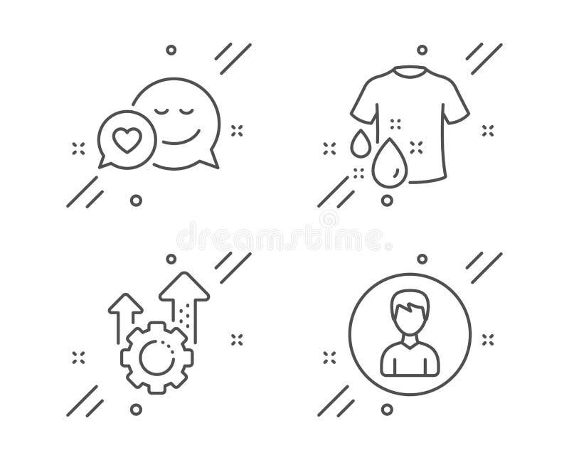 Εικονίδια εργαλείων μπλουζών, χρονολόγησης και Seo πλυσίματος καθορισμένα Σημάδι προσώπων Πουκάμισο πλυντηρίων, αγγελιοφόρος αγάπ διανυσματική απεικόνιση