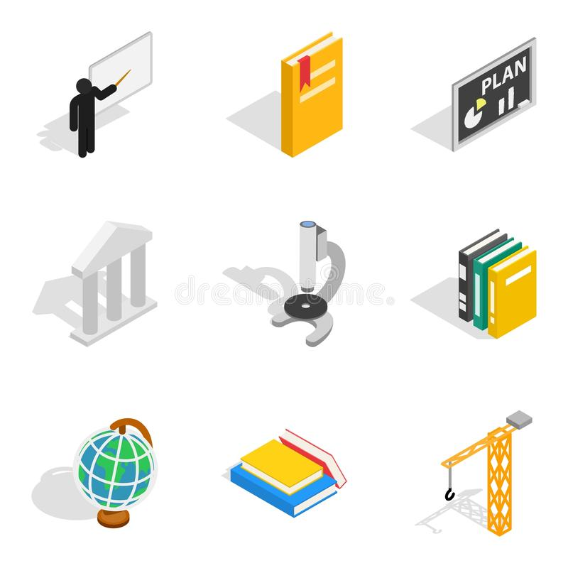 Εικονίδια εργασίας διδασκαλίας καθορισμένα, isometric ύφος απεικόνιση αποθεμάτων