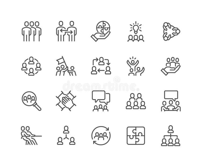 Εικονίδια εργασίας ομάδας γραμμών ελεύθερη απεικόνιση δικαιώματος