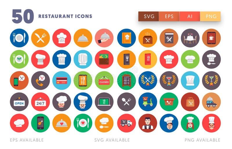 50 εικονίδια εστιατορίων απεικόνιση αποθεμάτων