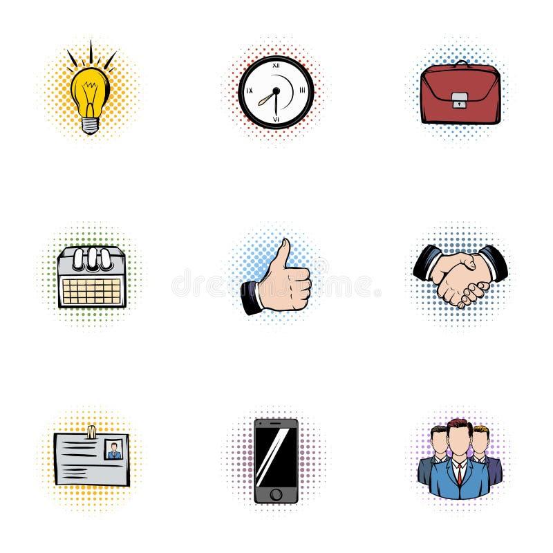 Εικονίδια εταιριών καθορισμένα, ύφος λαϊκός-τέχνης διανυσματική απεικόνιση