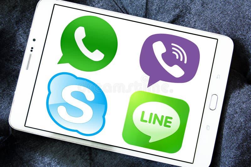 Εικονίδια εφαρμογών αγγελιοφόρων, whatsapp, skype στοκ εικόνα με δικαίωμα ελεύθερης χρήσης
