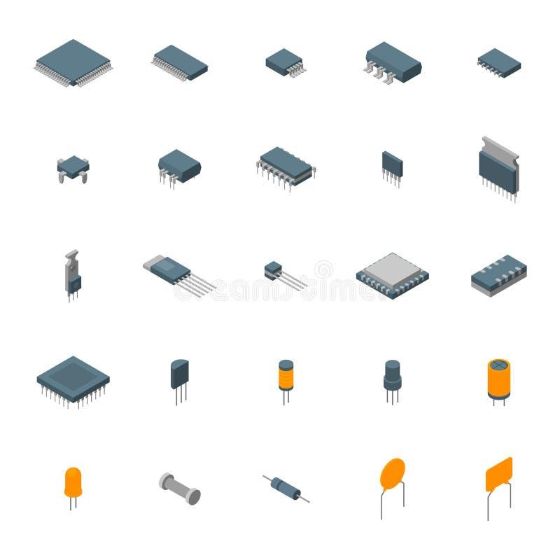 Εικονίδια ηλεκτρονικών τμημάτων υπολογιστών μικροτσίπ καθορισμένα απεικόνιση αποθεμάτων