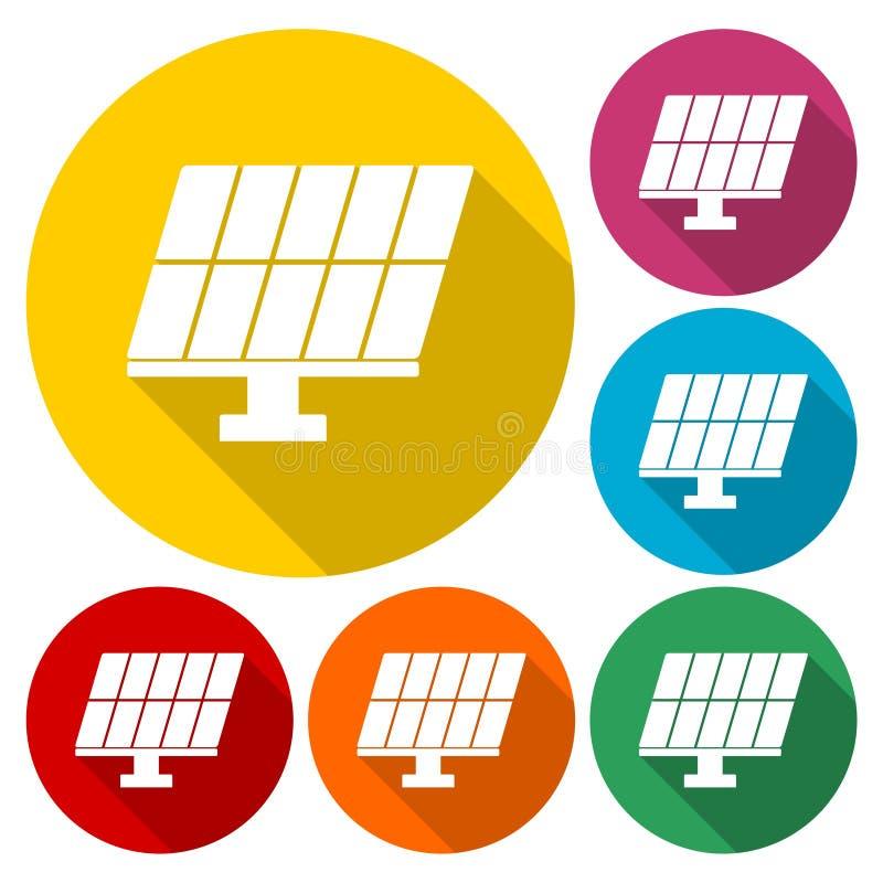 Εικονίδια ηλιακού πλαισίου καθορισμένα ελεύθερη απεικόνιση δικαιώματος