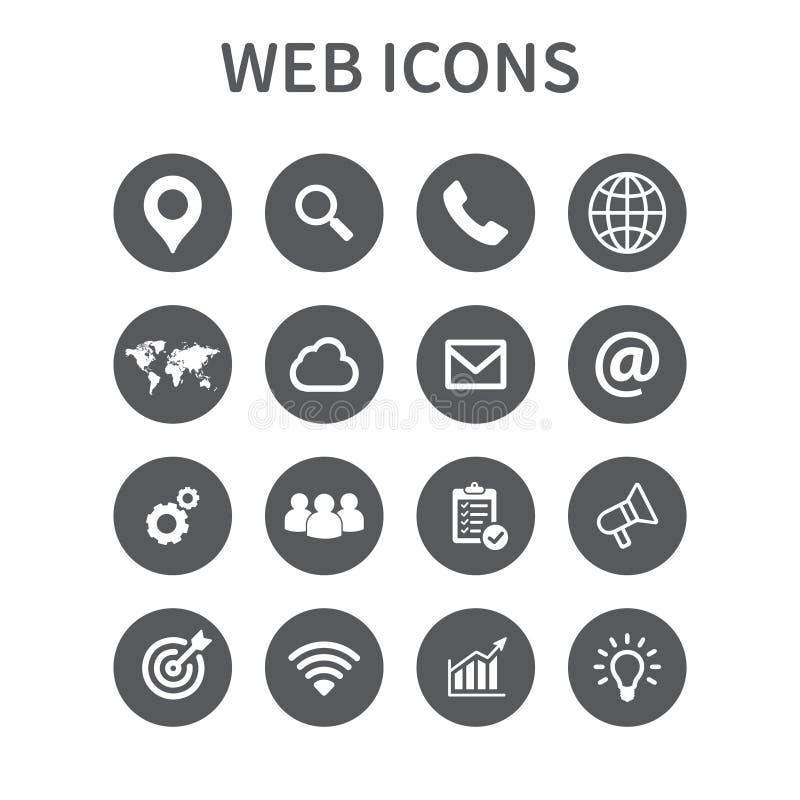 Εικονίδια Ιστού που τίθενται Καθολικό εικονίδιο Ιστού στη χρήση στον Ιστό και κινητό UI, σύνολο βασικών στοιχείων Ιστού UI επίσης διανυσματική απεικόνιση