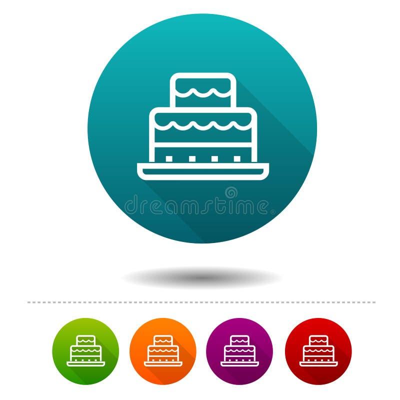 Εικονίδια κέικ γενεθλίων Σημάδια κόμματος Διανυσματικά κουμπιά Ιστού κύκλων ελεύθερη απεικόνιση δικαιώματος