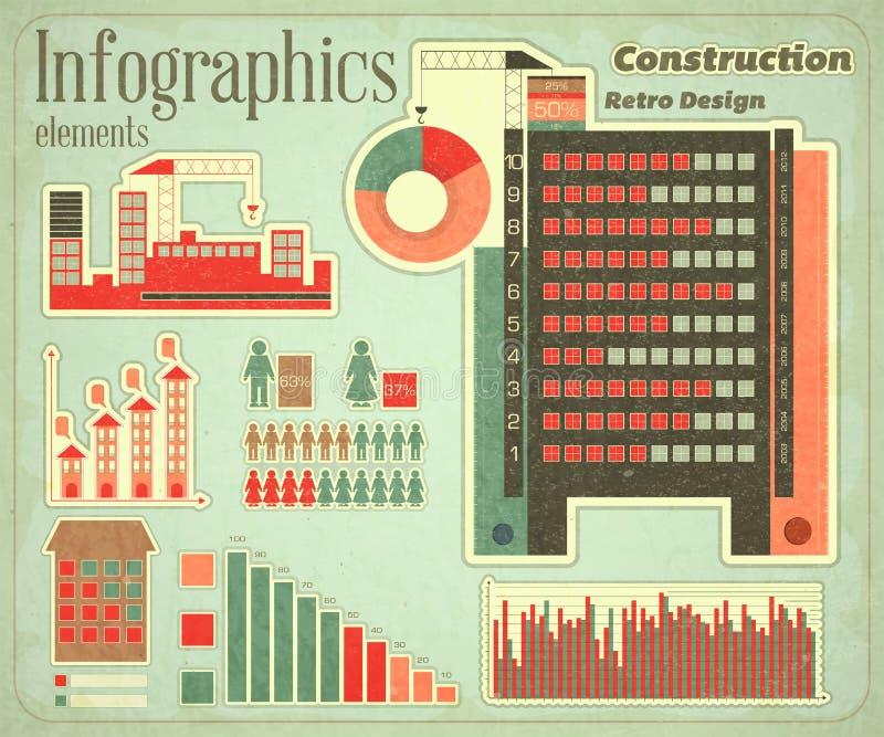 Εικονίδια και γραφική παράσταση κατασκευής διανυσματική απεικόνιση