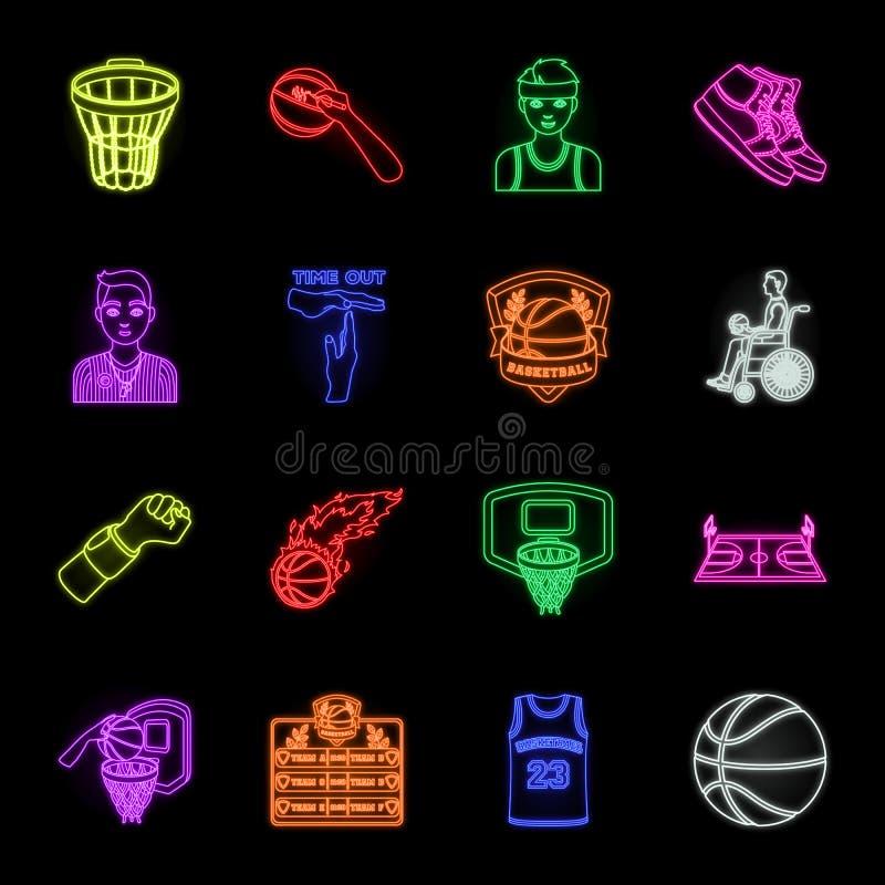 Εικονίδια καλαθοσφαίρισης και νέου ιδιοτήτων στην καθορισμένη συλλογή για το σχέδιο Διανυσματικό απόθεμα συμβόλων παίχτης μπάσκετ διανυσματική απεικόνιση