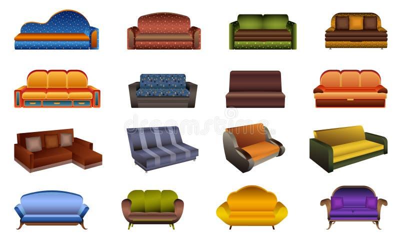 Εικονίδια καναπέδων καθορισμένα, ύφος κινούμενων σχεδίων ελεύθερη απεικόνιση δικαιώματος