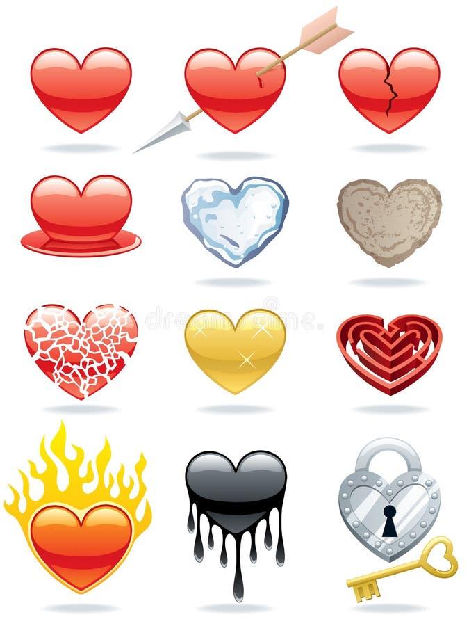 εικονίδια καρδιών διανυσματική απεικόνιση