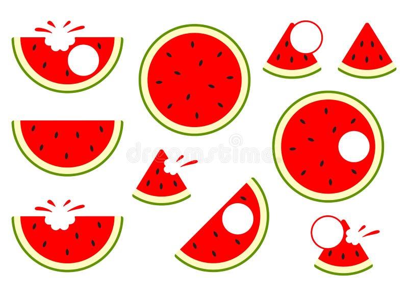 Εικονίδια καρπουζιών Διανυσματικό καρπούζι Φρούτα φετών που απομονώνονται διανυσματική απεικόνιση