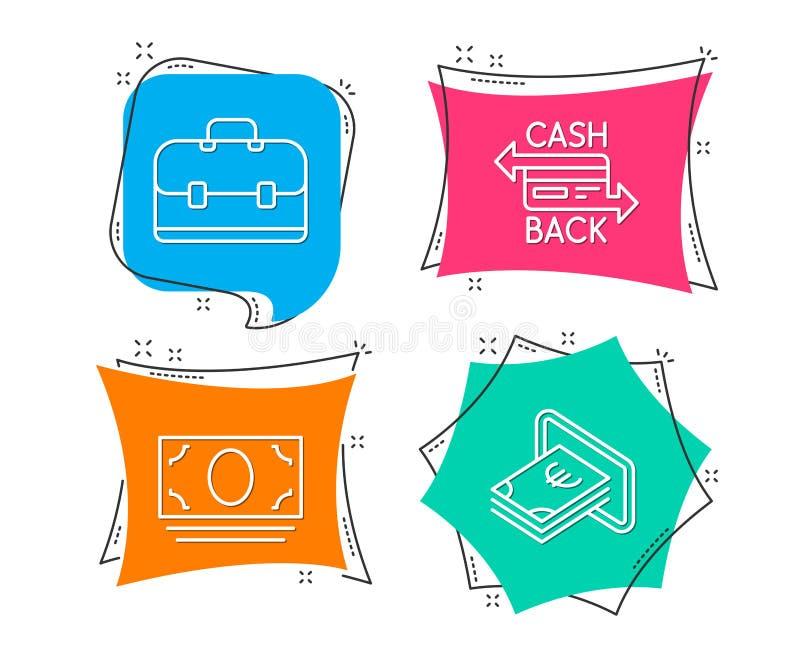 Εικονίδια καρτών χρημάτων, χαρτοφυλακίων και Cashback μετρητών Σημάδι μετρητών Τραπεζικό νόμισμα, επιχειρησιακή περίπτωση, πληρωμ ελεύθερη απεικόνιση δικαιώματος