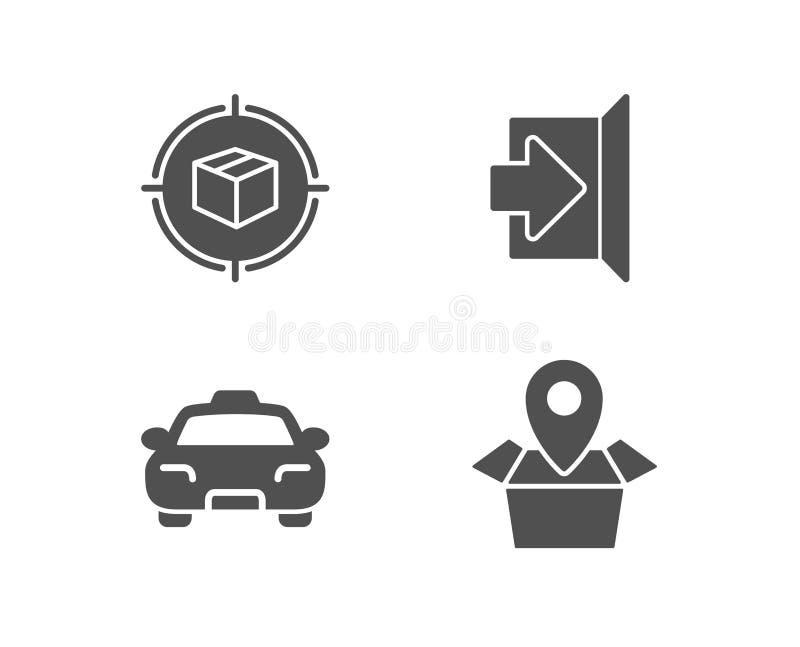 Εικονίδια καταδίωξης, εξόδων και ταξί δεμάτων Σημάδι θέσης συσκευασίας Κιβώτιο στο στόχο, διαφυγή, μεταφορά επιβατών απεικόνιση αποθεμάτων