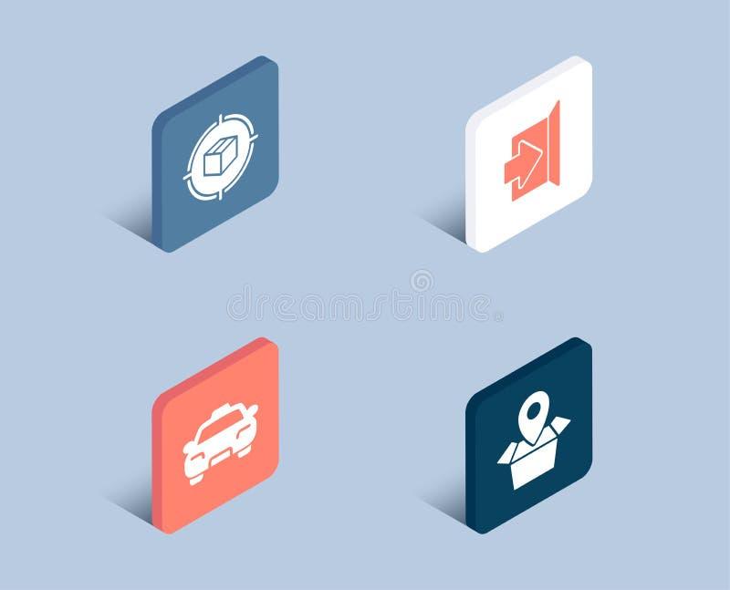 Εικονίδια καταδίωξης, εξόδων και ταξί δεμάτων Σημάδι θέσης συσκευασίας Κιβώτιο στο στόχο, διαφυγή, μεταφορά επιβατών διανυσματική απεικόνιση