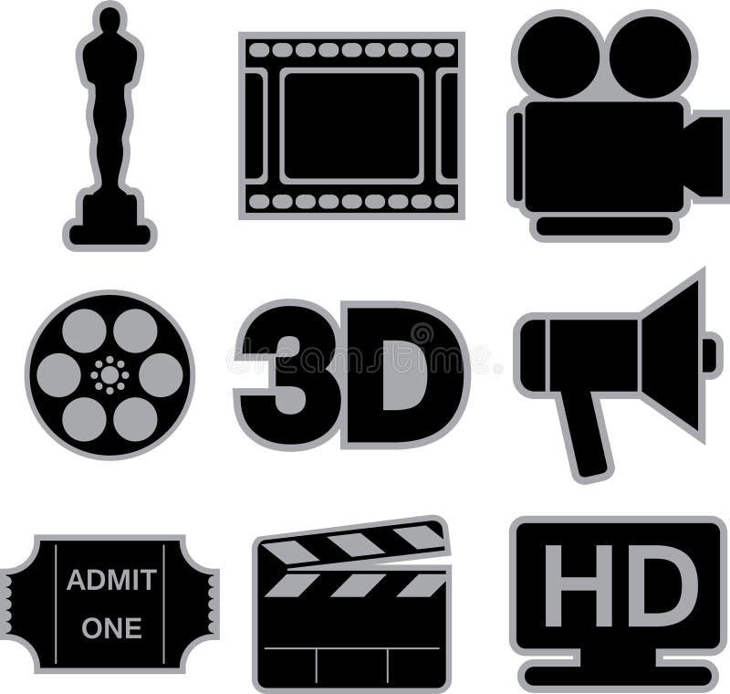 Εικονίδια κινηματογράφων ελεύθερη απεικόνιση δικαιώματος