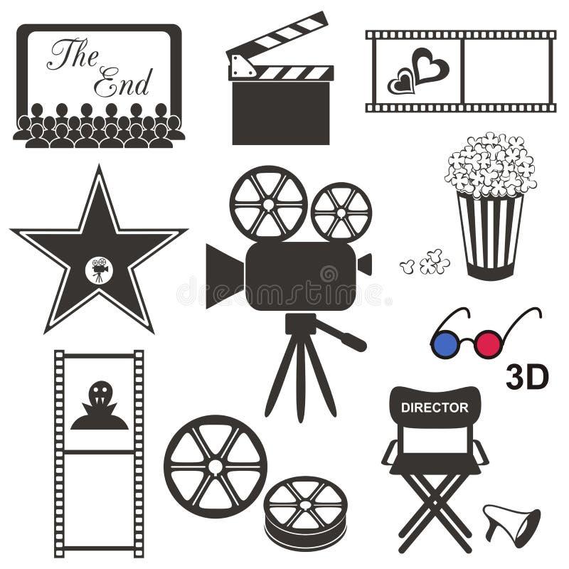 Εικονίδια κινηματογράφων απεικόνιση αποθεμάτων