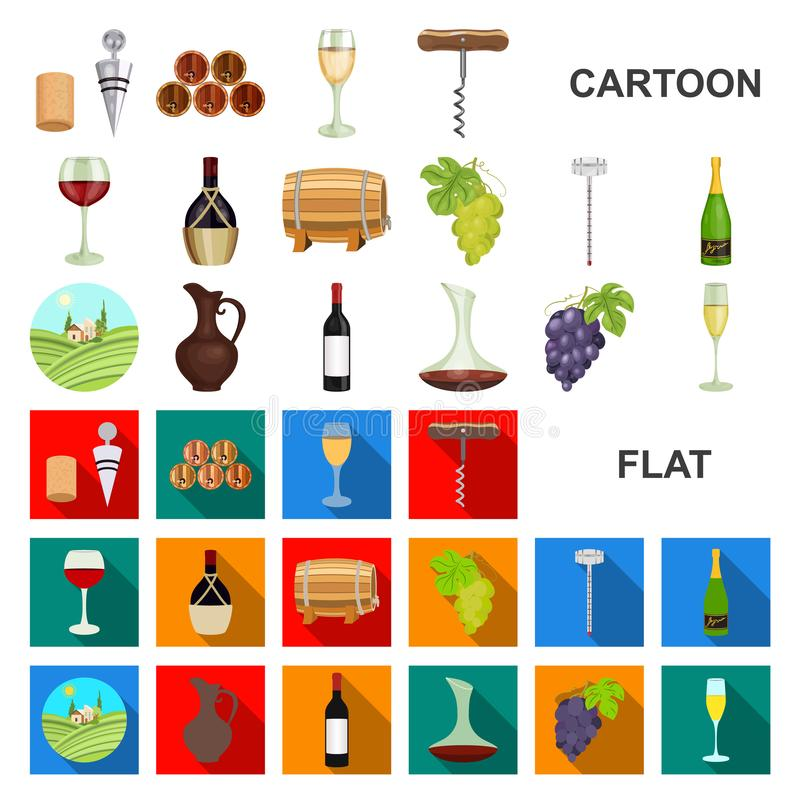 Εικονίδια κινούμενων σχεδίων αμπελοοινικών προϊόντων στην καθορισμένη συλλογή για το σχέδιο Εξοπλισμός και παραγωγή του διανυσματ διανυσματική απεικόνιση