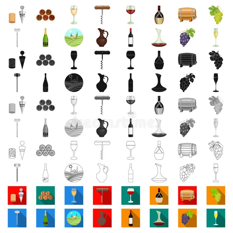 Εικονίδια κινούμενων σχεδίων αμπελοοινικών προϊόντων στην καθορισμένη συλλογή για το σχέδιο Εξοπλισμός και παραγωγή του διανυσματ απεικόνιση αποθεμάτων