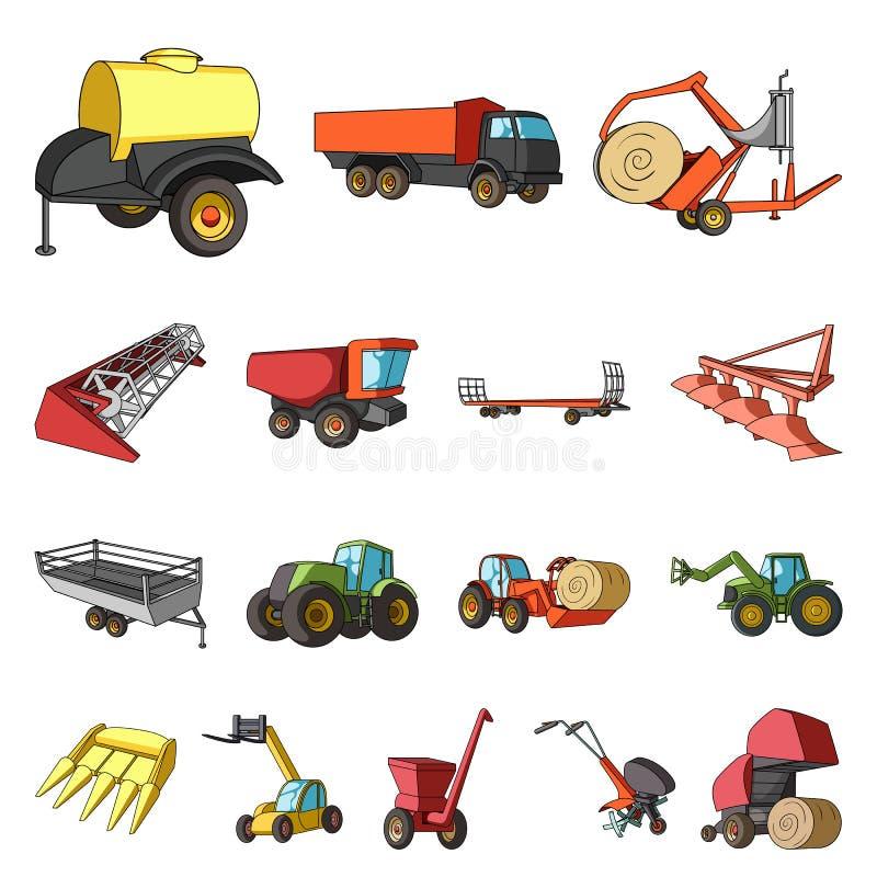 Εικονίδια κινούμενων σχεδίων γεωργικών μηχανημάτων στην καθορισμένη συλλογή για το σχέδιο Διανυσματικός Ιστός αποθεμάτων συμβόλων διανυσματική απεικόνιση
