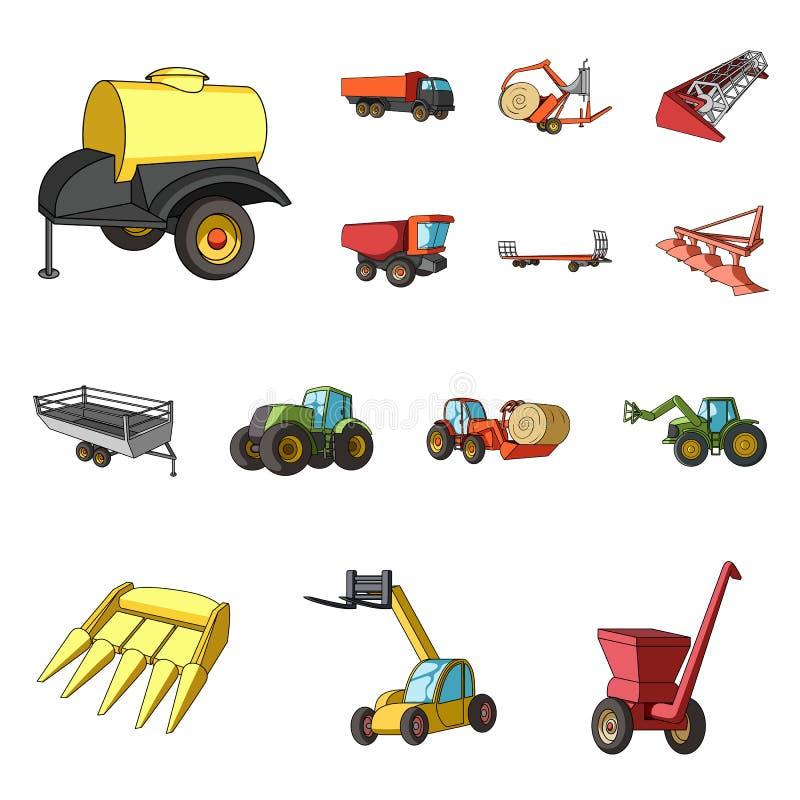 Εικονίδια κινούμενων σχεδίων γεωργικών μηχανημάτων στην καθορισμένη συλλογή για το σχέδιο Διανυσματικός Ιστός αποθεμάτων συμβόλων απεικόνιση αποθεμάτων