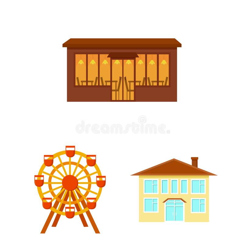 Εικονίδια κινούμενων σχεδίων κτηρίου και αρχιτεκτονικής στην καθορισμένη συλλογή για το σχέδιο Διανυσματικό απόθεμα συμβόλων κατα ελεύθερη απεικόνιση δικαιώματος