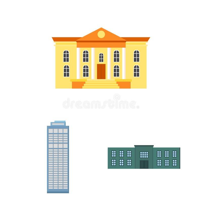 Εικονίδια κινούμενων σχεδίων κτηρίου και αρχιτεκτονικής στην καθορισμένη συλλογή για το σχέδιο Διανυσματικό απόθεμα συμβόλων κατα απεικόνιση αποθεμάτων