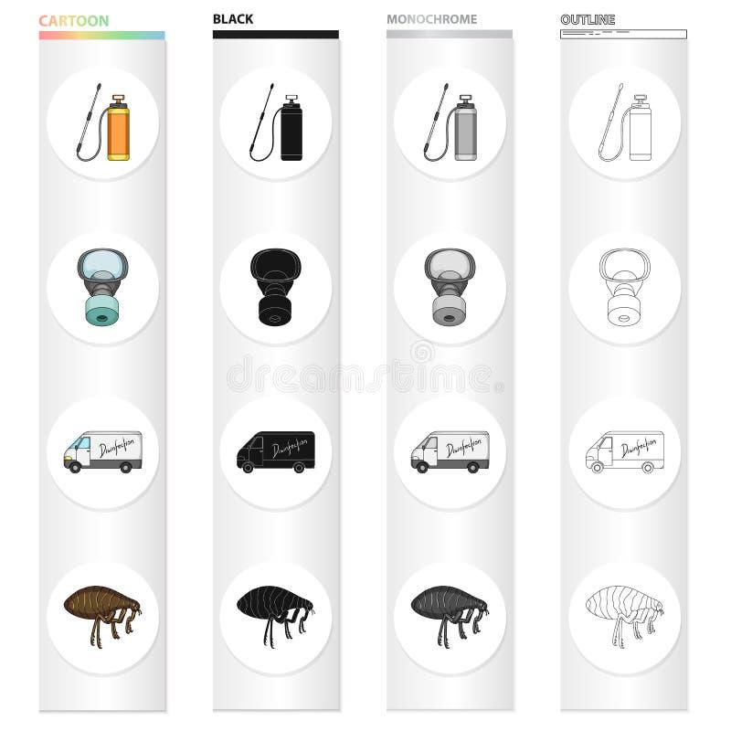 Εικονίδια κινούμενων σχεδίων παρασίτων, δηλητήριων, προσωπικού και εξοπλισμού στην καθορισμένη συλλογή για το σχέδιο Διανυσματικό διανυσματική απεικόνιση