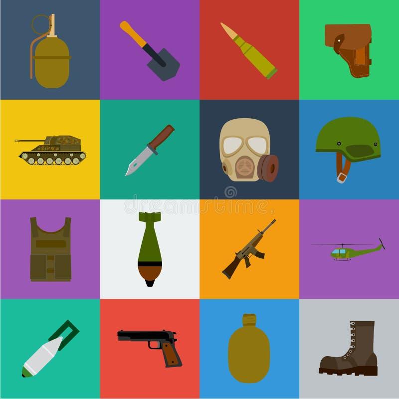 Εικονίδια κινούμενων σχεδίων στρατού και εξοπλισμών στην καθορισμένη συλλογή για το σχέδιο Όπλα και διανυσματική απεικόνιση Ιστού απεικόνιση αποθεμάτων