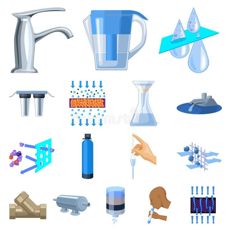 Εικονίδια κινούμενων σχεδίων συστημάτων διήθησης νερού στην καθορισμένη συλλογή για το σχέδιο Διανυσματικός Ιστός αποθεμάτων συμβ διανυσματική απεικόνιση