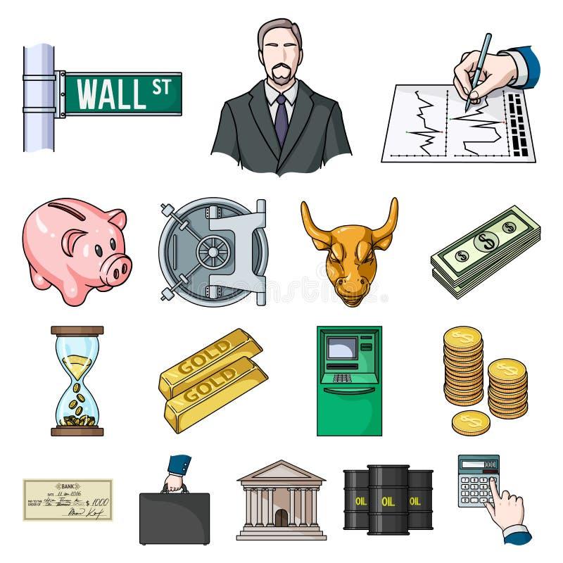 Εικονίδια κινούμενων σχεδίων χρημάτων και χρηματοδότησης στην καθορισμένη συλλογή για το σχέδιο Διανυσματική απεικόνιση Ιστού απο ελεύθερη απεικόνιση δικαιώματος