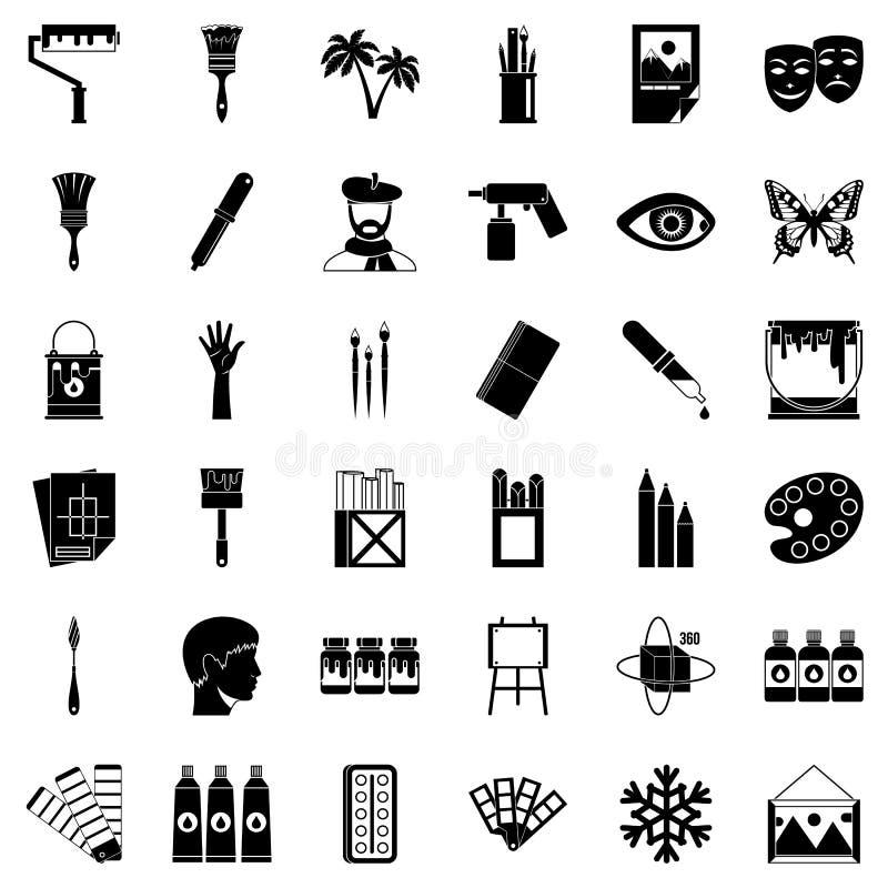 Εικονίδια κολλεγίων τέχνης καθορισμένα, απλό ύφος απεικόνιση αποθεμάτων
