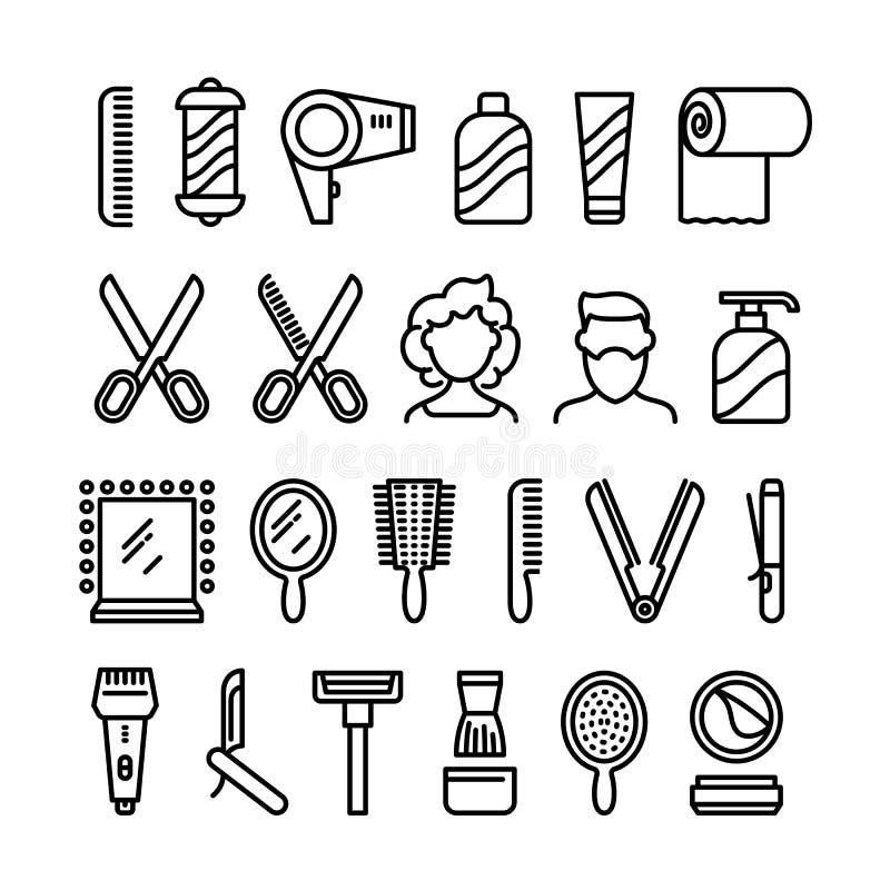 Εικονίδια κομμωτηρίων Όμορφα σύμβολα γραμμών hairstyle και κουρέματος διανυσματικά ελεύθερη απεικόνιση δικαιώματος