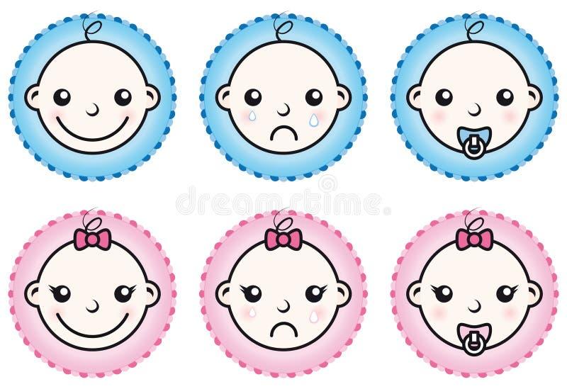 εικονίδια κοριτσιών αγ&omicron διανυσματική απεικόνιση