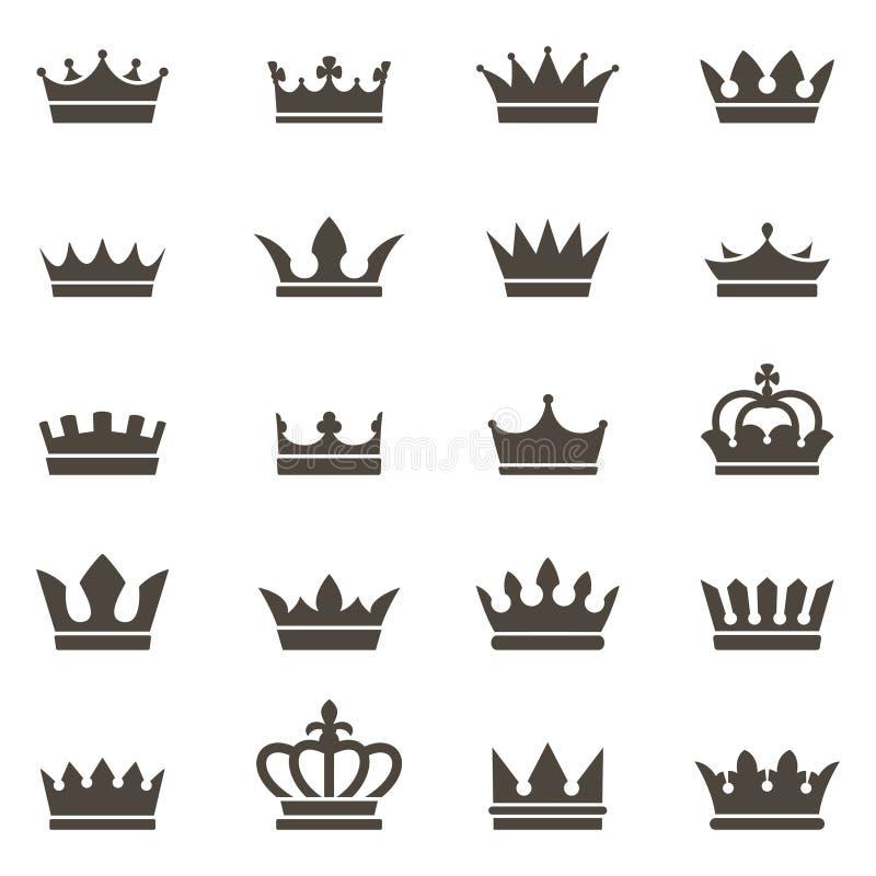 Εικονίδια κορωνών Ο βασιλιάς βασίλισσας στέφει την πολυτέλεια τη βασιλική στέφοντας τιάρα πριγκηπισσών ο εραλδικός Μαύρος μοναρχώ ελεύθερη απεικόνιση δικαιώματος