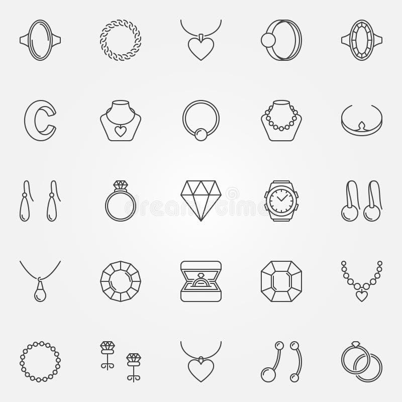 Εικονίδια κοσμήματος καθορισμένα - διανυσματικό διαμάντι, δαχτυλίδια, σημάδια βραχιολιών απεικόνιση αποθεμάτων