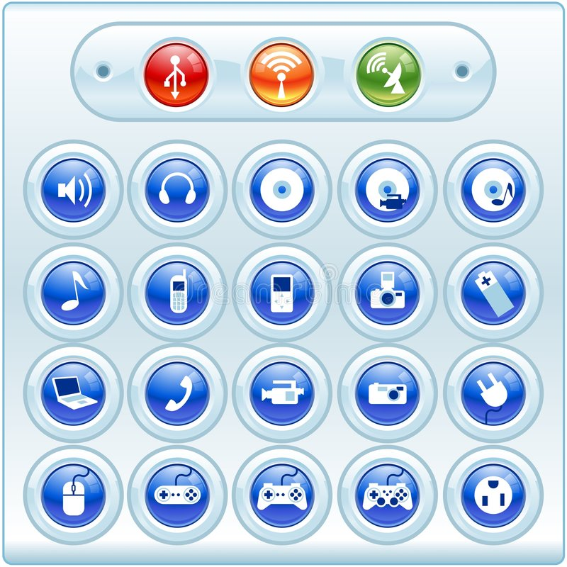 εικονίδια κουμπιών λαμπρ στοκ εικόνα
