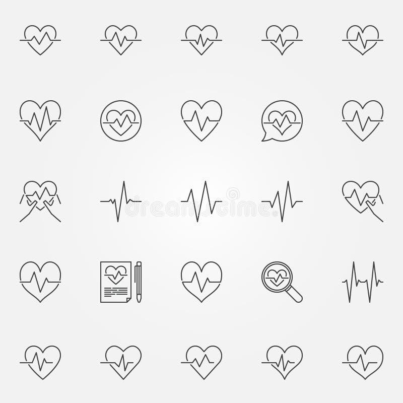 Εικονίδια κτύπου της καρδιάς καθορισμένα - διανυσματικά καρδιακά σημάδια γραμμών κύκλων ελεύθερη απεικόνιση δικαιώματος