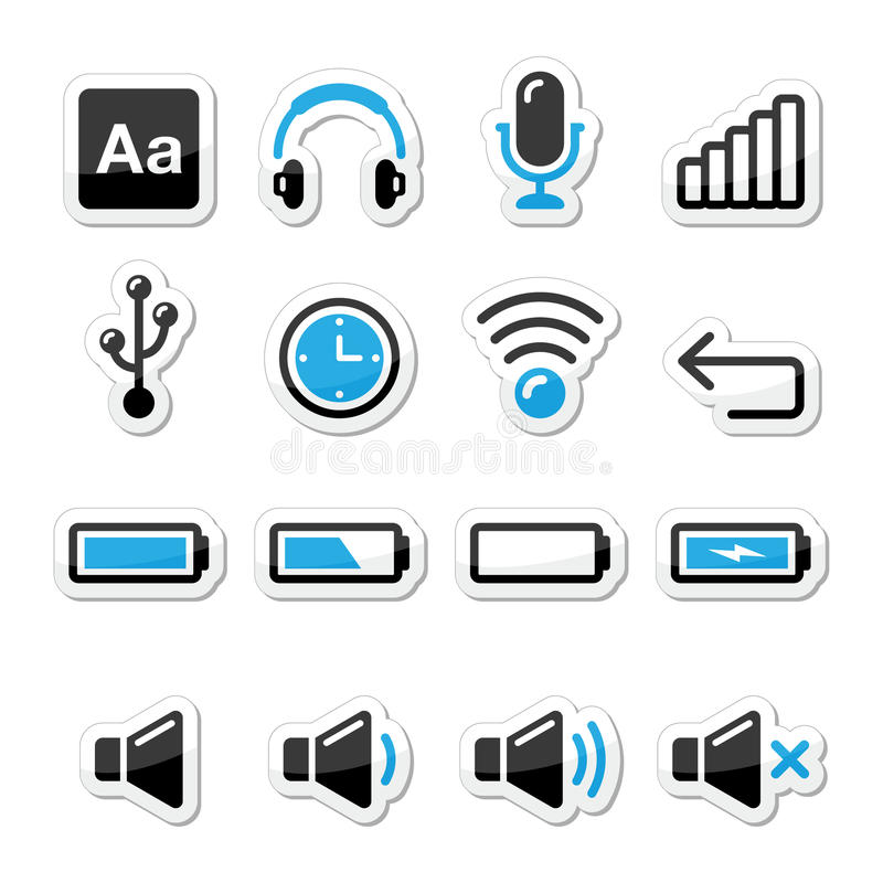 Εικονίδια λογισμικού ηλεκτρονικών συσκευών/υπολογιστών που τίθενται όπως ετικέτες διανυσματική απεικόνιση