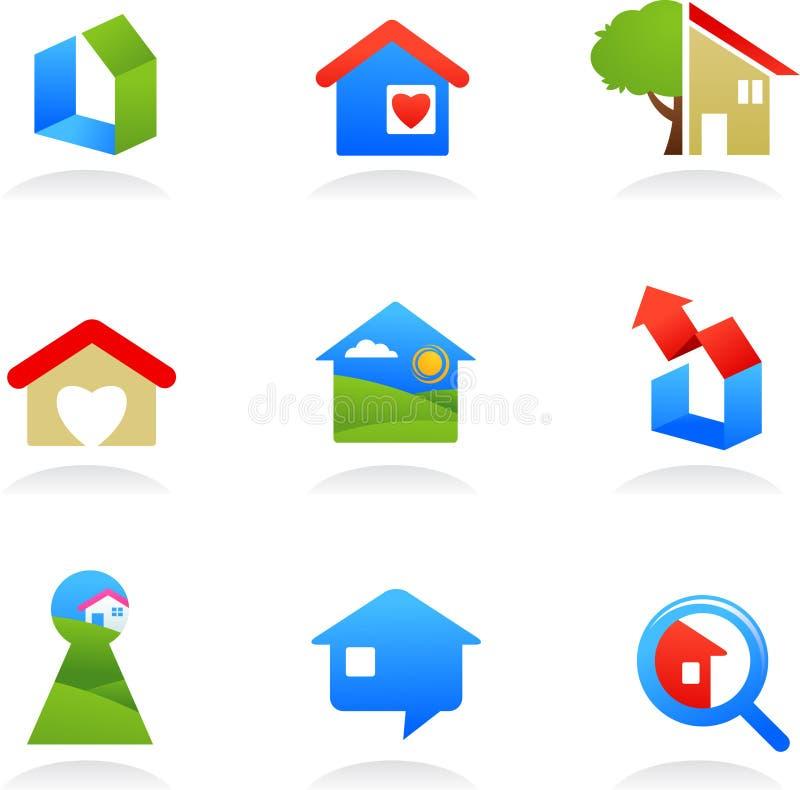 Εικονίδια/λογότυπα ακίνητων περιουσιών απεικόνιση αποθεμάτων