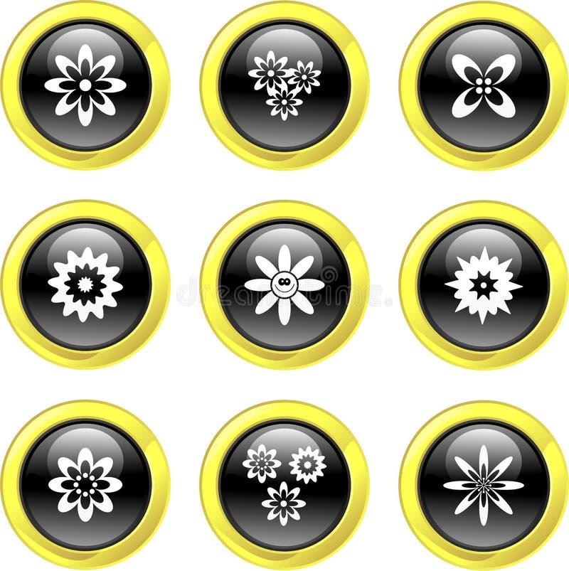 εικονίδια λουλουδιών διανυσματική απεικόνιση