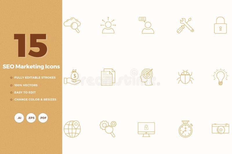 Εικονίδια μάρκετινγκ απεικόνιση αποθεμάτων