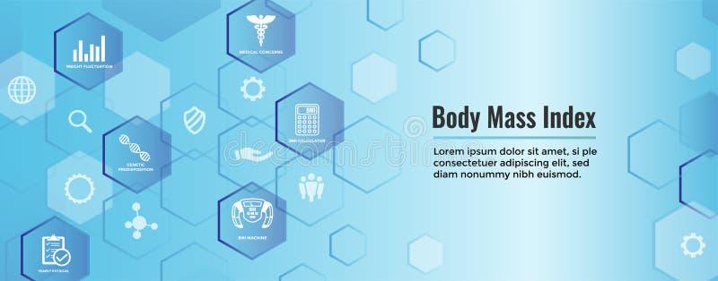 Εικονίδια μαζικών δεικτών BMI ή σώματος με την κλίμακα, το δείκτη, & τον υπολογιστή διανυσματική απεικόνιση