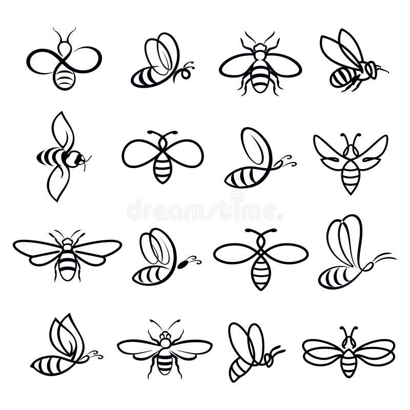 Εικονίδια μελισσών μελιού διανυσματική απεικόνιση