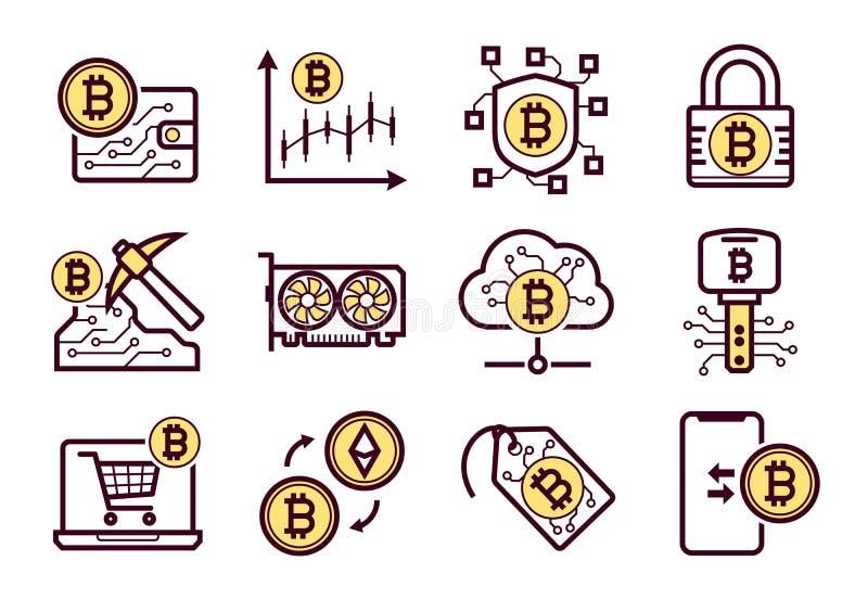 Εικονίδια μεταλλείας Bitcoin καθορισμένα ελεύθερη απεικόνιση δικαιώματος