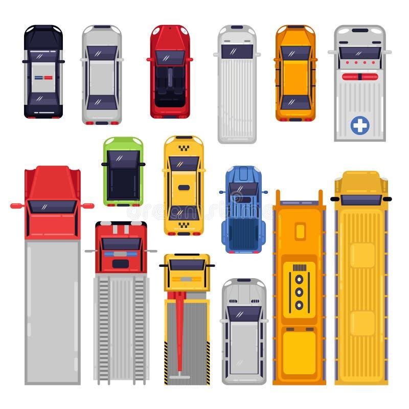 Εικονίδια μεταφορών πόλεων που τίθενται Τοπ απεικόνιση άποψης Διανυσματικό επίπεδο όχημα που απομονώνεται στο άσπρο υπόβαθρο απεικόνιση αποθεμάτων
