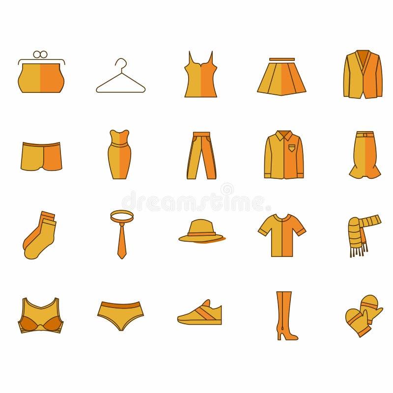 Εικονίδια με τα ενδύματα του κίτρινου χρώματος διανυσματική απεικόνιση