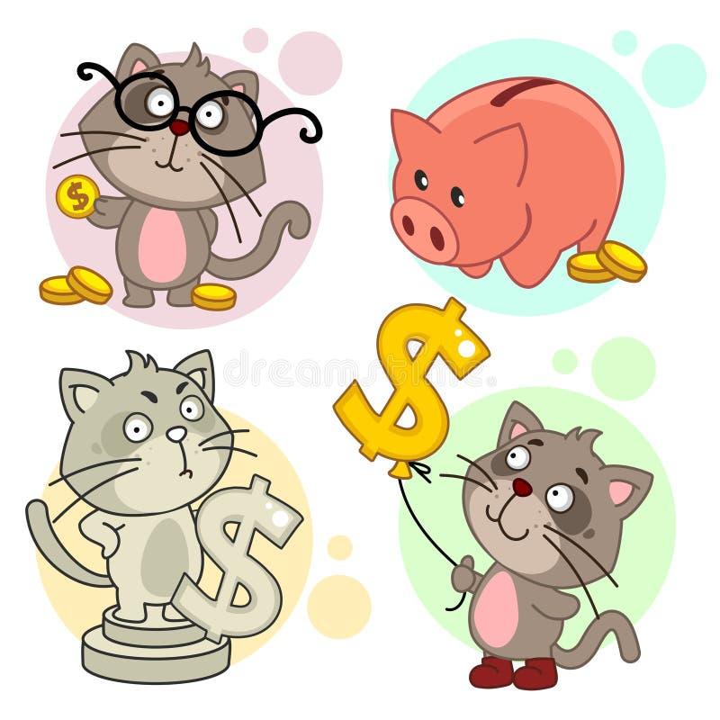 Εικονίδια με το μέρος 12 γατών διανυσματική απεικόνιση