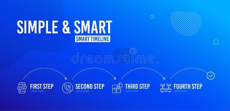 Εικονίδια μηνυμάτων τηλεφωνικών κέντρων, γρίφων και τηλεφώνων καθορισμένα Σημάδι Wifi Τηλεφωνική υποστήριξη, στρατηγική εφαρμοσμέ απεικόνιση αποθεμάτων